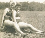 My mom on the left and her sister Marie sunbathing.