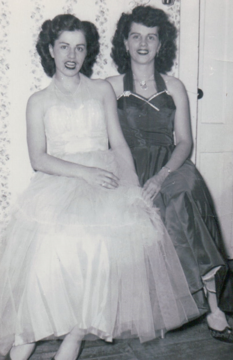 My mom and my Aunt Marie in their evening gown with crinoline slips